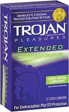 Trojan Pleasures Extended Lubricated Condoms - 12 Pack New Adult Sexy Valentine