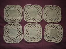 #946 Beautiful Vintage Hand Made 6 Linen Doilies 13cm(5'')