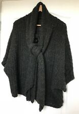 """Next"" Wool Blend Chunky Cardigan, Size S-M, Blue, Short Sleeve, Tie neckline"