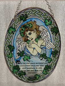 "Irish Angel & Blessing Painted Glass Sun-catcher Oval 5"" x 7"""