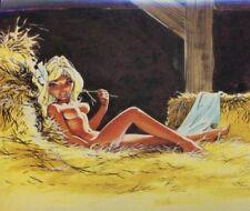 DANY O. RAMEAU carte postale Colombe dénudée pin up dans la paille N°8