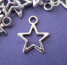50 x OPEN STAR CHARMS 15mm SILVER TONE JEWELLERY MAKING CHRISTMAS WHOLESALE (E5)