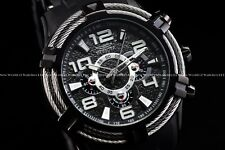Invicta Men 51mm Bolt Sea Spider Hybrid Tri Cable Alloy Chron Triple Black Watch