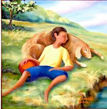 Printable Wall Art Print Boy with Dog by River Home Decor Instant Download