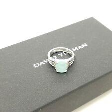 David Yurman Sterling Silver Petite Wheaton Chalcedony & Diamond Ring Size 7
