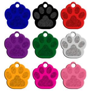100pcs/lot Wholesale Dog ID Tags Aluminum Paw Shape Name Tag Blank for Pet Black