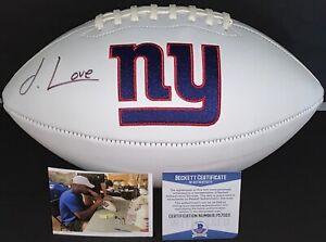 Julian Love New York Giants Signed Logo Football Beckett Witness COA 1
