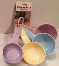 Kitchen Aid Measuring Cups 4 Piece Set Pastel Plastic Pink Blue Yellow Purple