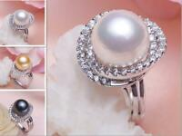 PERFECT AAA++ 11-12MM SOUTH SEA GENUINE  PEARL RING adjustable 3 color