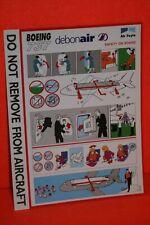FLIGHT SAFETY CARD DEBONAIR BOEING 737 IN NEW CONDITION