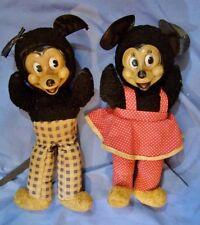 2 Antique Vintage Mickey & Minnie Mouse Plush Toy Dolls Doll Gund c1940 Disney
