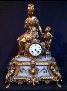 Antique French Figural/GildedStatue Clock- Lady And Cherub