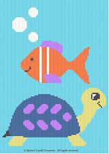 Crochet Patterns - TURTLE & FISH Baby Afghan Pattern **EASY!**
