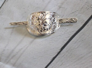 Western Womens Silver Engraved Hair Barrette F Rodeo Horse Show