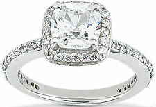 1.47 carat, 1.01 ct CUSHION cut DIAMOND Halo Engagement Wedding 14k Gold Ring