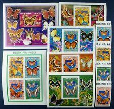 Schmetterlinge 1996 Burkina Faso 1410-1413 + KLB + Block 170 + Blocks Imperf/243