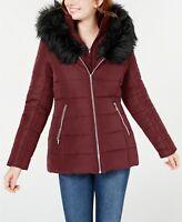 Maralyn & Me Women's Faux-Fur Trim Hooded Puffer Jacket