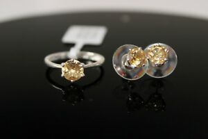 Citrine or Blue Topaz Solitaire Ring and Stud Earrings Set in Sterling Silver