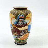"""Vintage Nagoya Japan Small Satsuma Moriage Porcelain Vase Gold Trim 5"""""""