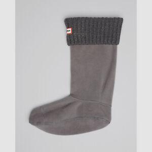 $81 Hunter Women's Gray Tall Cardigan Knit Cuff Welly 1-Pair Boot Socks Size L