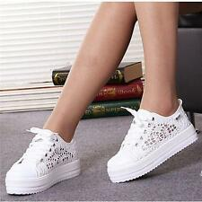 New Womens Lace Round Toe Hollow Platform Wedge Shoes Lace Up Sneakers Shoes US8