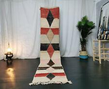 Moroccan Boujad Handmade Runner 2'6x10'4 Berber Vintage Geometric Beige Red Rug
