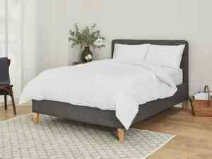4pc White 300 Tread 100% Organic Cotton Sateen Fitted Sheet Duvet & Pillow Cover