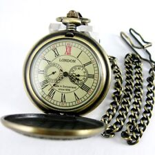 Vintage Bronze Pocket Watch Mechanical Second&24 hours Dials Deer pattern Luxury