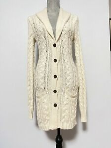 Ralph Lauren Chunky Sweater Small Ivory Cable Knit Cotton Cashmere Womens