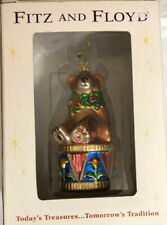 """Fitz and Floyd Holiday Treasures Teddy Bear Glass Ornament (2002) 6"""" Make Offer"""
