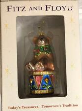 "Fitz and Floyd Holiday Treasures Teddy Bear Glass Ornament (2002) 6"""