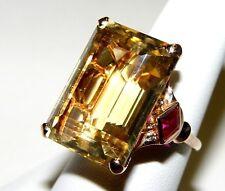 1950's Vintage 34.00CT(Est). Citrine & 1.00CT(Est.) Ruby Ring 14K s-8