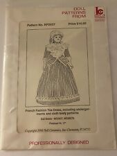 """Vintage Doll Sewing Pattern """"French Fashion Tea Dress"""" Finished Ht. 17"""""""