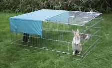 Metal Run With Pitched Roof Sun Protection Rabbits Guinea Pigs Chickens Garden
