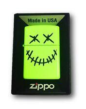 Zippo Custom Lighter Stitched Skull Face Neon Yellow Finish Pocket New