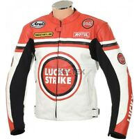 LUCKY STRIKE Classic White Red Sports Biker Motorbike Motorcycle LEATHER Jacket