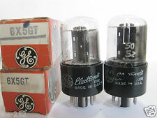 2 matched GE 6X5GT Rectifier tubes - TV7D tested @ 53/51, 50/52, min:40/40