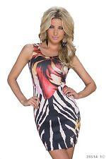 ♥*Neu Sexy Minikleid Print Kleid Schwarz Figurbeton Stretchkleid Größe 38
