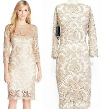 Tadashi Shoji Pearl 3/4 Sleeve Sequin Embellished Lace Sheath Dress 10 $388