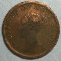 1840 Nova Scotia One Half 1/2 Penny Copper Token #ZS110