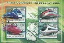 Timbres Trains Centrafrique 2496/9 o année 2012 lot 8074 - cote : 20 €
