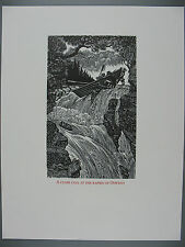 Original Wesley Bates Wood Engraving, A Close Call at the Rapids of Oswego