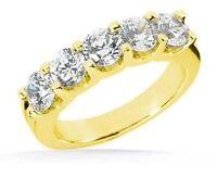 """2.25 ct band 5 Round DIAMOND ANNIVERSARY """"U"""" shape RING 14k Yellow Gold 0.45 ct"""