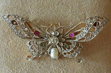 """Vintage Platinum, 18k. Gold & Diamond """"Butterfly"""" Pin- Approx. .75cts."""