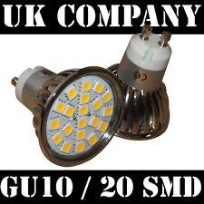 GU10 - 20 SMD 3.6W = 60 W LIGHT BULBS -WARM WHITE  aluminium housing IP44