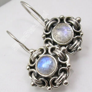 """Fast Delivery 925 SOLID Silver BLUE FIRE RAINBOW MOONSTONE Earrings 1.2"""""""