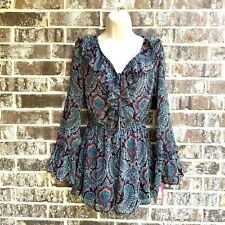 Xhilaration Women's long sleeve romper dress shorts brown/blue ruffles Size XS