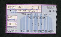 Original Cher 1992 Concert Ticket Stub The Paramount Believe