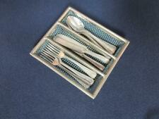 *Vintage Doll Size Silverware in Basket - for Miniature Table, Tea Set Germany