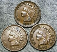 1891 1892 1893 Indian Cent Penny  ----  NICE LOT -----  #A645
